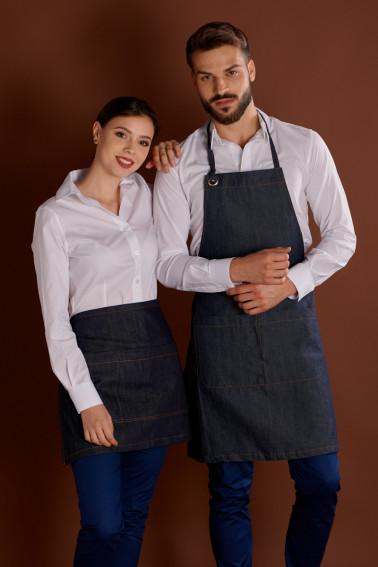 Şorţ jeans cu pieptar - Restaurant - Davido Design