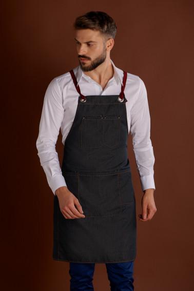 Şorţ jeans cu pieptar şi bretele detaşabile - Restaurant - Davido Design
