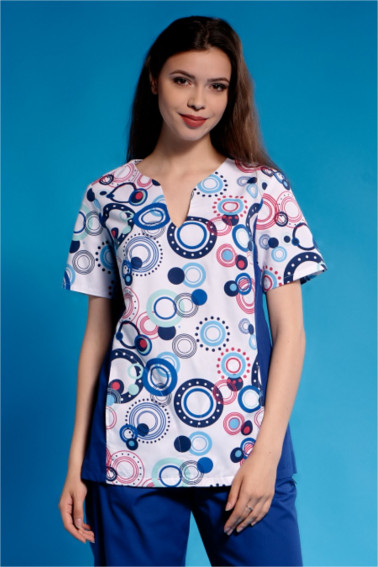 Bluza medicala albastra cu imprimeu