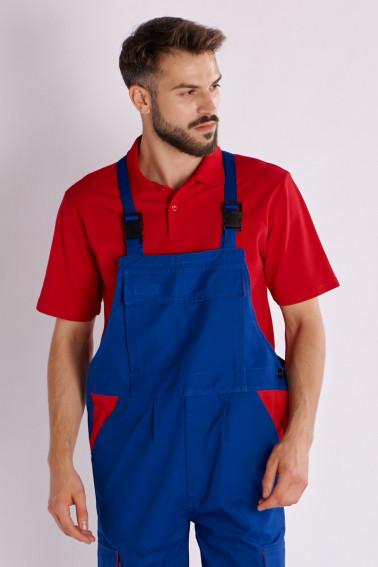 Salopetă cu pieptar cu detalii roşii - Industrial - Davido Design