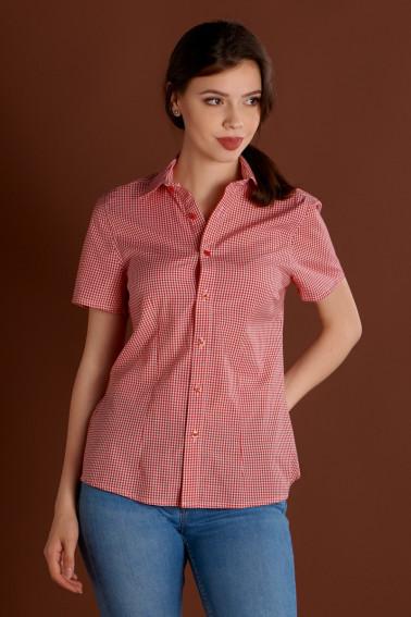 Camasa cadrilata alb-rosu dama cu maneca scurta