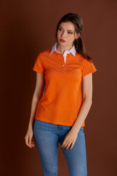 Tricou polo damă portocaliu cu guler alb - Retail - Davido Design