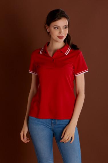 Tricou polo damă roşu cu accent alb - Tricouri - Davido Design