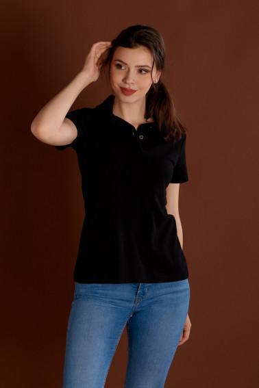 Tricou polo damă negru - Retail - Davido Design