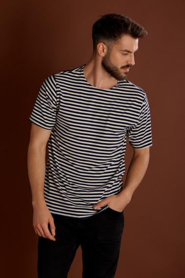 Tricou cu dungi alb-negru