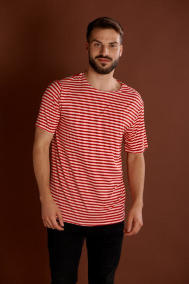 Tricou cu dungi alb-rosu