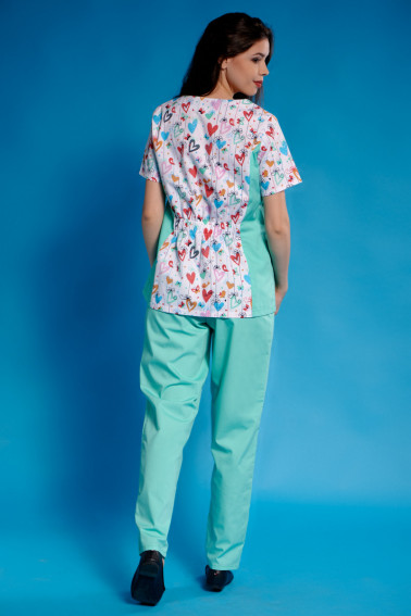 Uniformă medicală aqua imprimeu cu inimioare - Medical - Davido Design