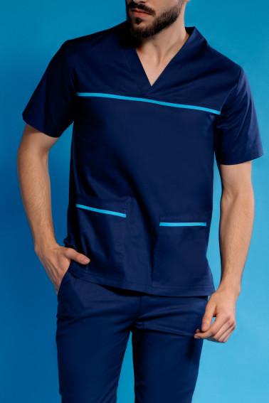 Uniformă medicală bleumarin cu accente bleu - Medical - Davido Design